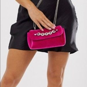 Fuchsia Mini Purse with Silver Chain Strap